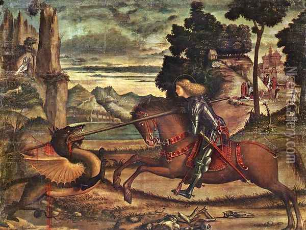 St George and the Dragon [detail: 1] Oil Painting - Vittore Carpaccio