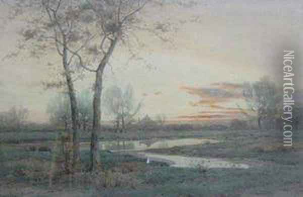 November Day' View On Long Island Oil Painting - Henry Farrer