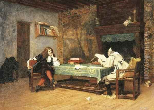A Collaboration (corneille And Moliere) Oil Painting - Jean-Leon Gerome