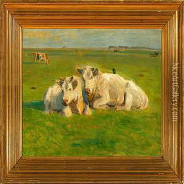 Grazing Cows On A Field Oil Painting - Vilhelm Theodor Fischer