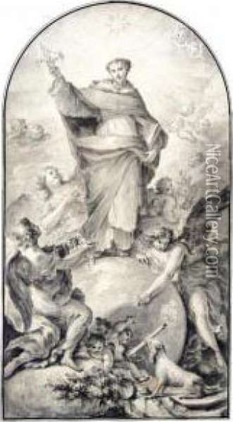 Design For An Altarpiece: St. Dominic In Glory Oil Painting - Fedele Fischetti