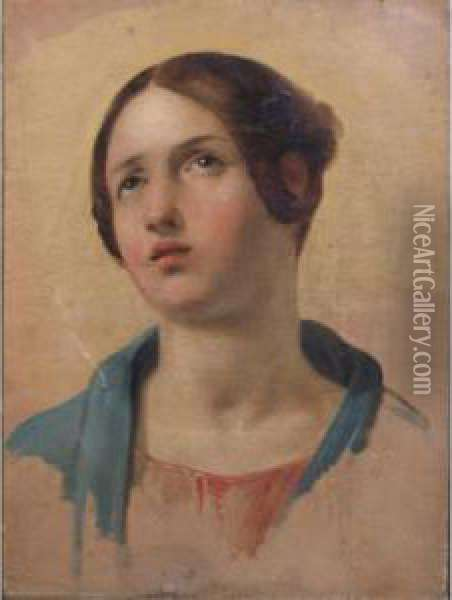 Study Of A Young Woman Looking Up Oil Painting - Hippolyte Flandrin