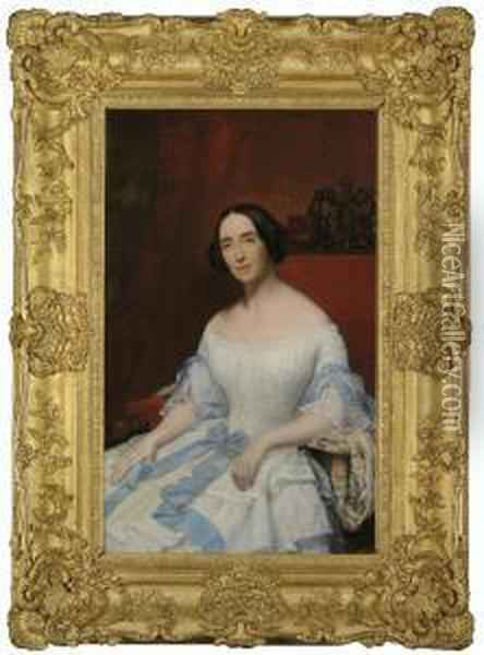 Portrait Of Helena, Baronne  Fould, Seated, Three-quarter-length, In A White Dress With Blue Ribbon Oil Painting - Hippolyte Flandrin