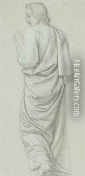 Standing Figure Of Christ Seen From Behind Oil Painting - Hippolyte Flandrin