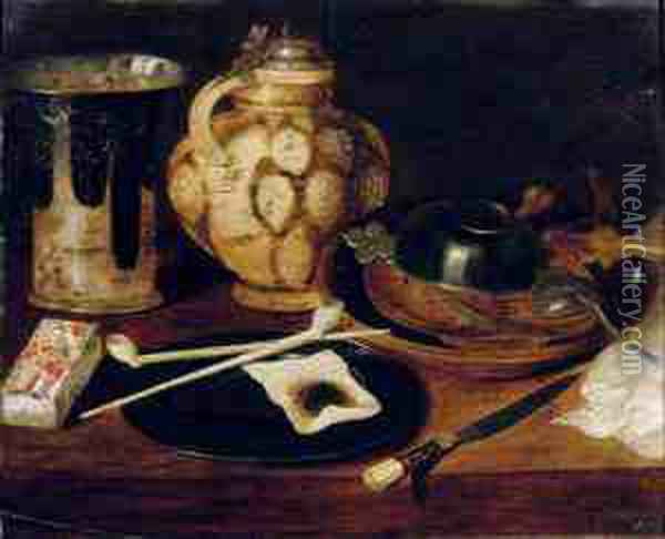 A Deck Of Cards, A Pewter Plate  With Pipes And Tobacco, An Earthenware Beaker And Jug, A Knife And An  Earthenware Bowl With Pewter Objects On A Table Oil Painting - Georg Flegel