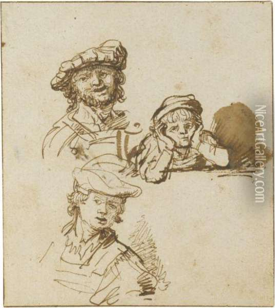 Studies Of Two Men In Hats And A Boy Leaning On Hishands, All Head And Shoulders Oil Painting - Govert Teunisz. Flinck