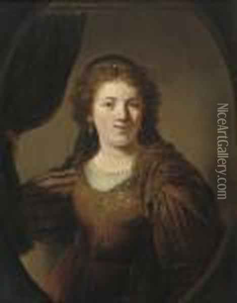 A 'tronie' Of A Young Woman In An Eastern Costume Oil Painting - Govert Teunisz. Flinck
