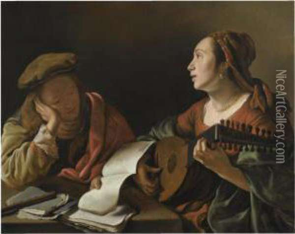 A Young Lady Playing The Lute To
