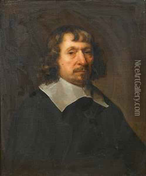 Portrait Of A Gentleman, Half-length, In Black Costume With A White Lawn Collar Oil Painting - Govert Teunisz. Flinck