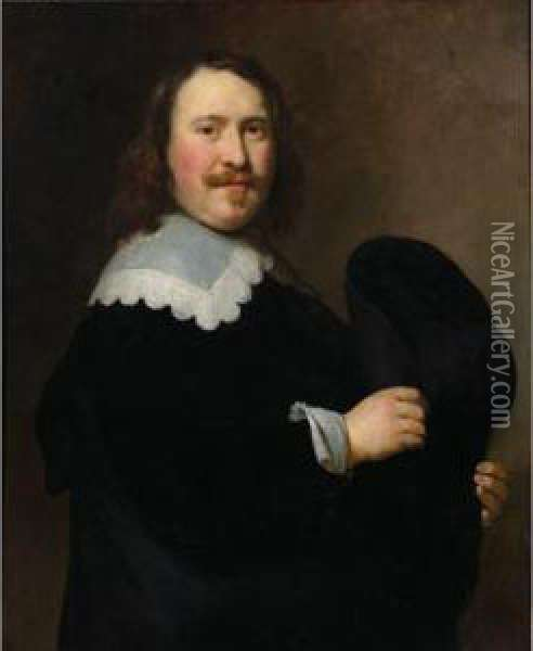 Sold By The J. Paul Getty Museum To Benefit Future Painting Acquisitions              A Portrait Of A Gentleman, Standing Half-length, Turned To The Right, Wearing A Black Coat With A White Lace Colla Oil Painting - Govert Teunisz. Flinck