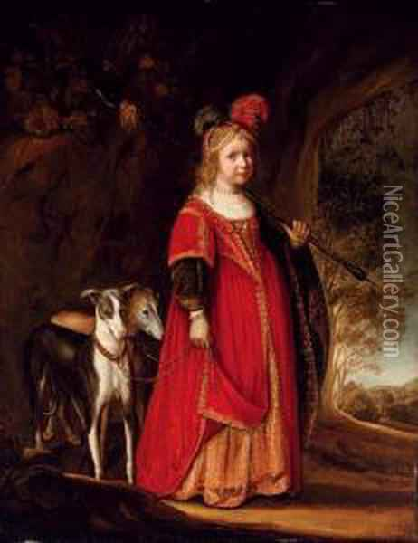 Portrait Of A Young Girl As Diana, In A Glade With Two Greyhounds Oil Painting - Govert Teunisz. Flinck