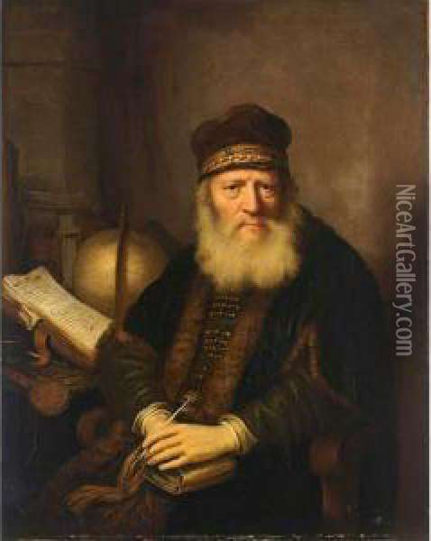 A Portrait Of A Philosopher,  Seated Half-length At His Desk With A Globe, Holding A Pen And A Book In  His Hands Oil Painting - Govert Teunisz. Flinck
