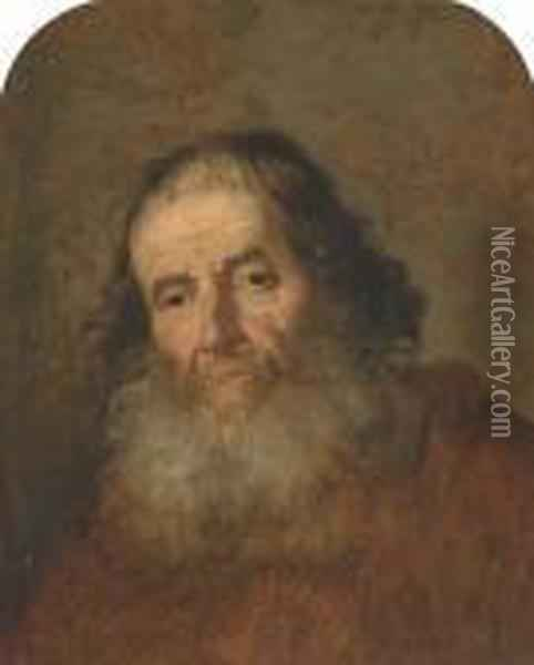 A Bearded Man, Bust-length Oil Painting - Govert Teunisz. Flinck