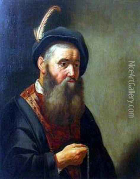 Man With Plumed Hat Holding Beads Oil Painting - Govert Teunisz. Flinck