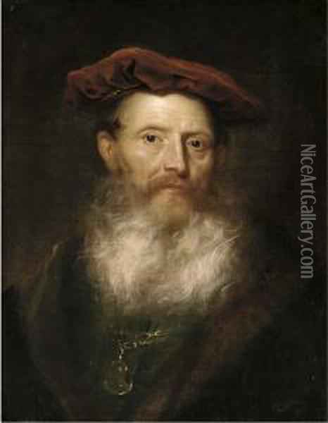 Portrait Of A Bearded Man, Bust-length, In A Fur-trimmed Black Coat And A Velvet Cap Oil Painting - Govert Teunisz. Flinck