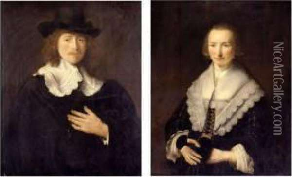Portrait Of A Gentleman And Portrait Of A Lady: A Pair Of Paintings Oil Painting - Govert Teunisz. Flinck
