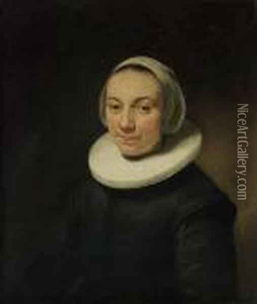 Portrait Of A Lady, Bust-length, In A Black Dress With A Ruff, Anda White Head-dress Oil Painting - Govert Teunisz. Flinck