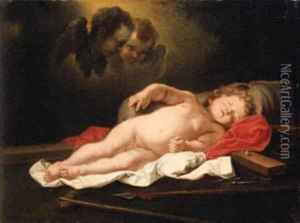 The Infant Christ Sleeping By The Instruments Of The Passion Oil Painting - Govert Teunisz. Flinck