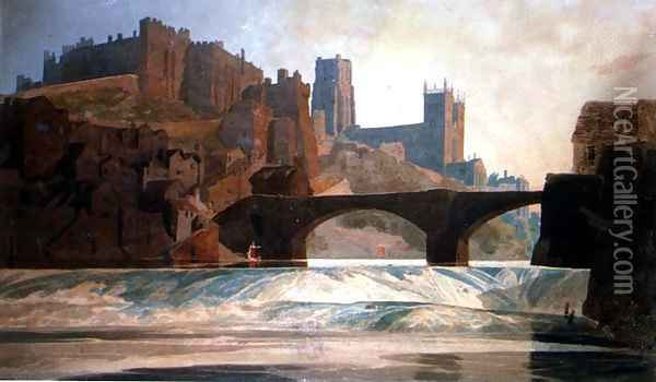Durham Castle and Cathedral, c.1809-10 Oil Painting - John Sell Cotman