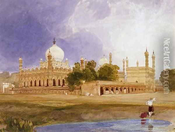 The Palace of the Hyder Ali Khan, Rajah of Mysore, c.1825 Oil Painting - John Sell Cotman