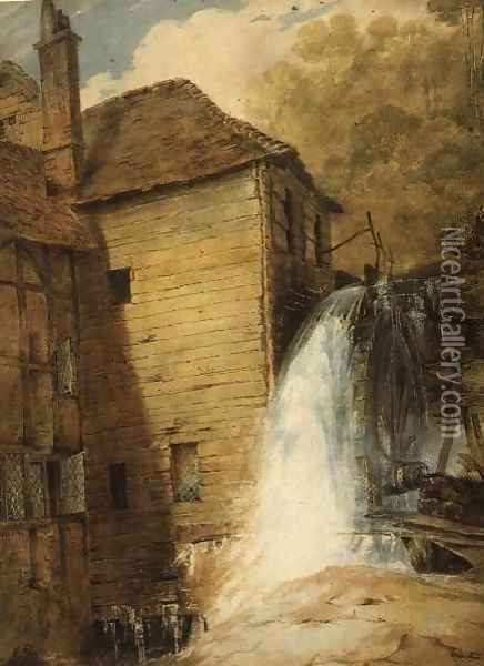 An Overshot Mill, c.1802-3 Oil Painting - John Sell Cotman