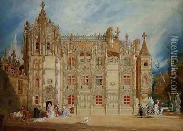 Abbatial House at the Abbey of St. Ouen at Rouen, 1826 Oil Painting - John Sell Cotman