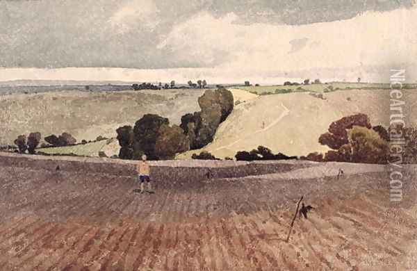 A Ploughed Field, c.1808 Oil Painting - John Sell Cotman