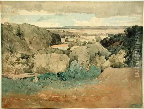 Barnard Castle from Towler Hill Oil Painting - John Sell Cotman