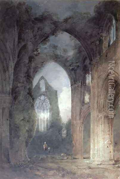 Tintern Abbey by Moonlight Oil Painting - John Sell Cotman