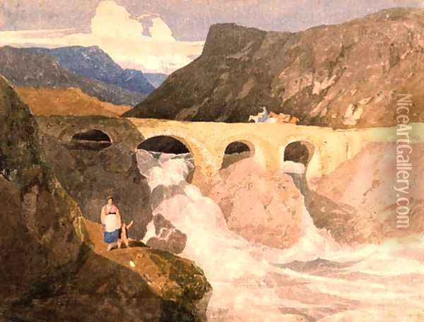 Road to Capel Curig, North Wales Oil Painting - John Sell Cotman