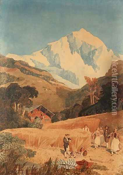 View of the Jungfrau-Horn, 1809 Oil Painting - John Sell Cotman