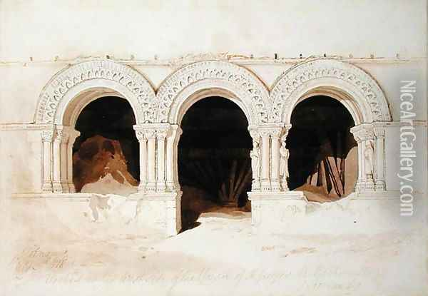 Arches in the West Side of the Cloister of St. Georges de Boscherville, near Rouen, Normandy, c.1818 Oil Painting - John Sell Cotman