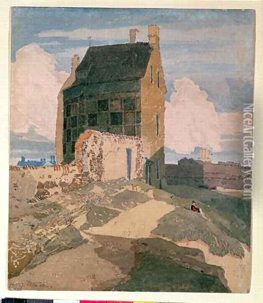 On the Walls, Great Yarmouth c.1812 Oil Painting - John Sell Cotman