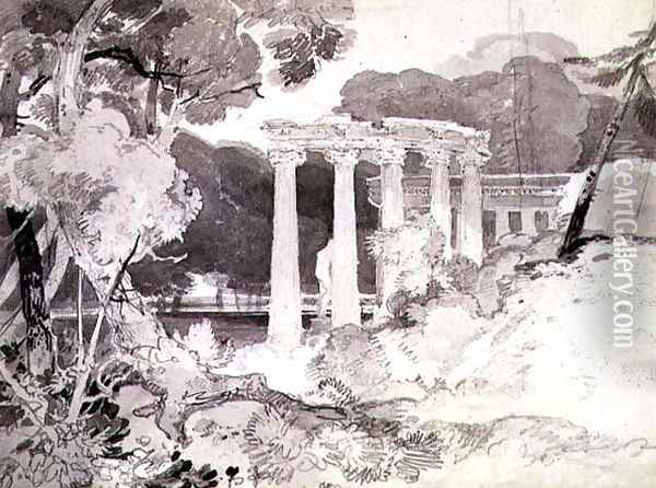Classical Colonnade in a Woody Landscape Oil Painting - John Sell Cotman