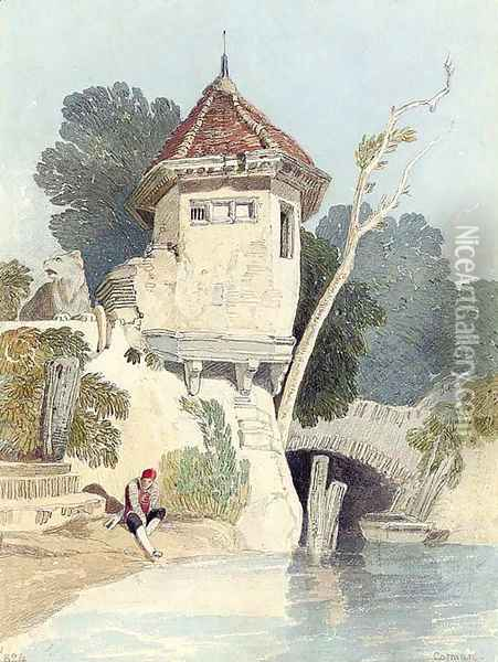 A garden house on the banks of the river Yare Oil Painting - John Sell Cotman
