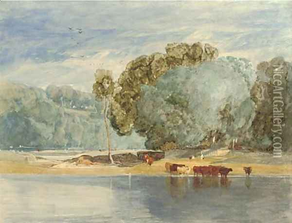 River scene with cattle Oil Painting - John Sell Cotman