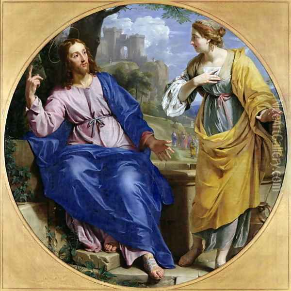 Christ and the Woman of Samaria at the Well, 1648 Oil Painting - Philippe de Champaigne