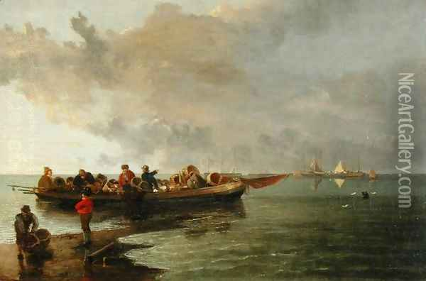 A Barge with a Wounded Soldier Oil Painting - John Crome