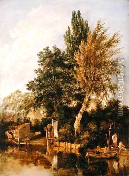 A River Scene with Boys Bathing, c.1817 Oil Painting - John Crome