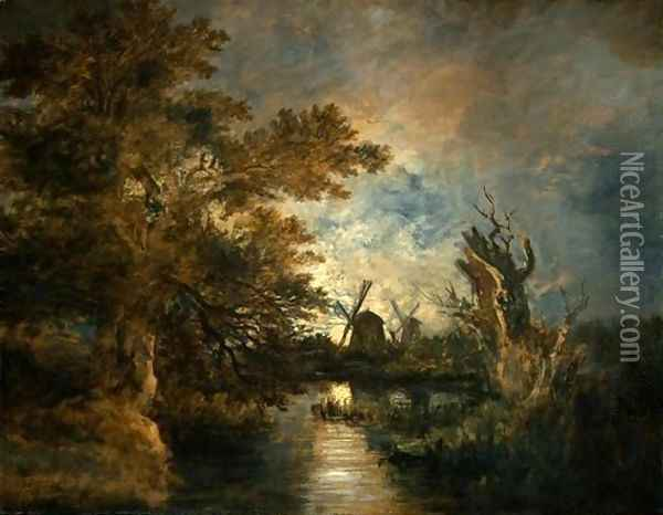 Moonlight on the Yare Oil Painting - John Crome