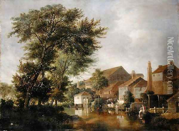 A River Scene, possibly at Norwich, c.1817 Oil Painting - John Crome