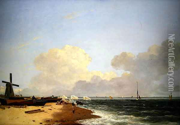 Yarmouth Beach, looking North - Morning Oil Painting - John Crome