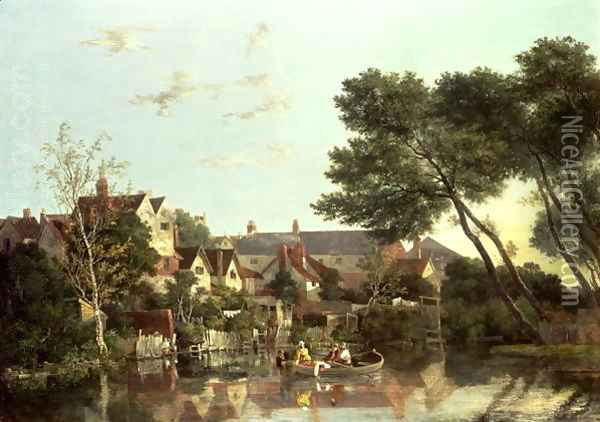 Norwich River, Afternoon, c.1812-19 Oil Painting - John Crome