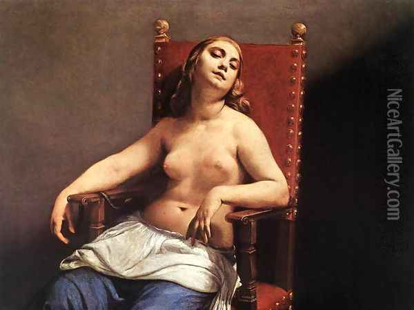 The Death of Cleopatra c. 1660 Oil Painting - Guido Cagnacci