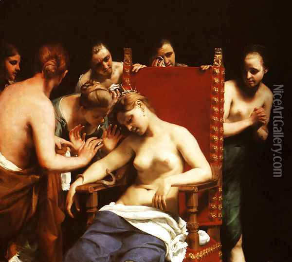Death of Cleopatra Oil Painting - Guido Cagnacci