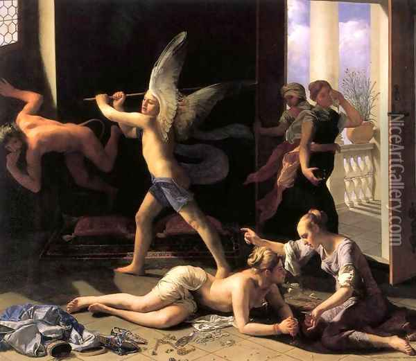 Martha Rebuking Mary for her Vanity after 1660 Oil Painting - Guido Cagnacci