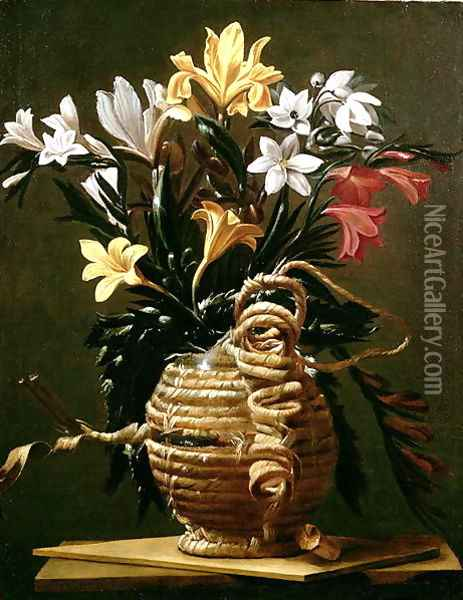 Still Life of Flowers in a straw-covered Flask Oil Painting - Guido Cagnacci