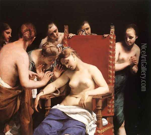 The Death of Cleopatra 1658 Oil Painting - Guido Cagnacci