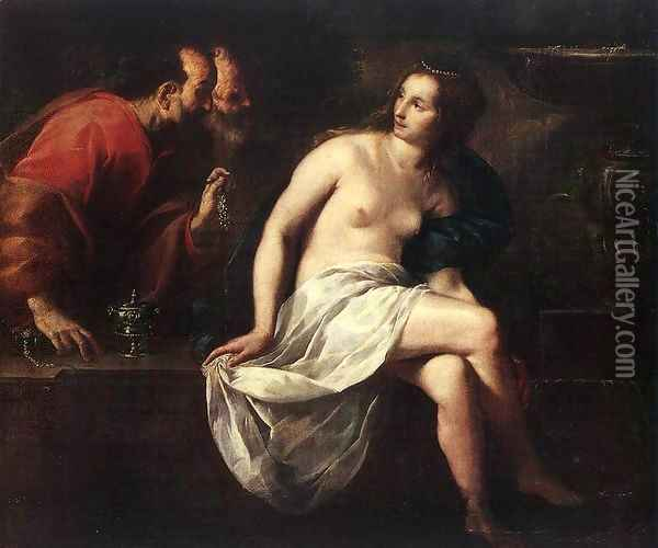 Susanna and the Elders Oil Painting - Guido Cagnacci