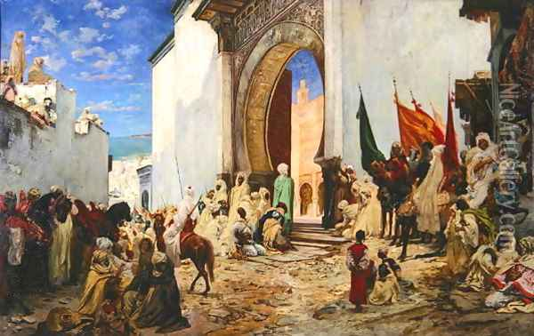 Entry of the Sharif of Ouezzane into the Mosque, 1876 Oil Painting - Georges Jules Victor Clairin